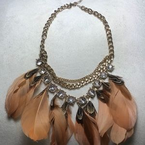 Big feather and diamond statement necklace